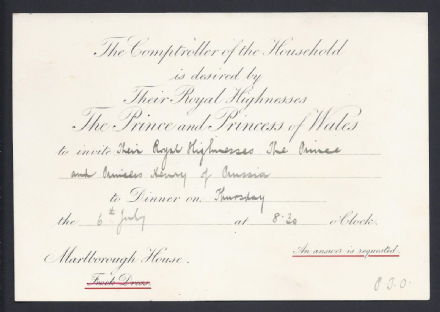 Prince of Wales King Edward VII Invitation to Prince Henry of Prussia to Dine